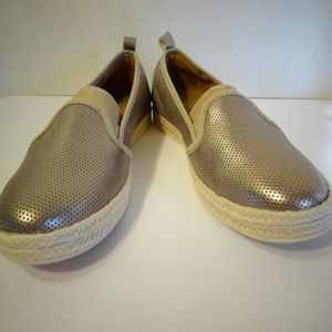 CLARKS Azella Major Gold Metallic Leather Loafers